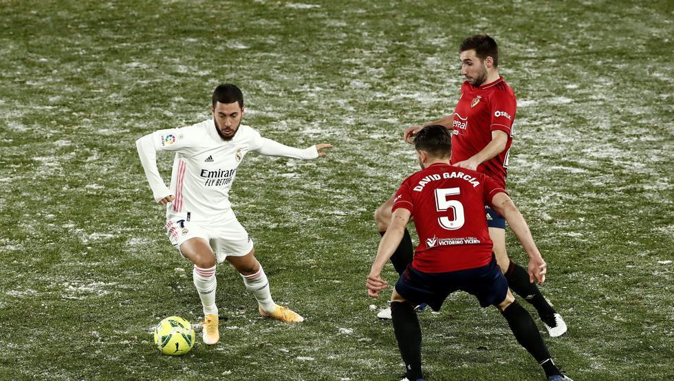 Hazard เล่นในนัดสุดท้ายของเรอัลมาดริด - กับเจ้าบ้านโอซาซูน่า 0-0 เมื่อวันที่ 9 มกราคม  ภาพ: EFE
