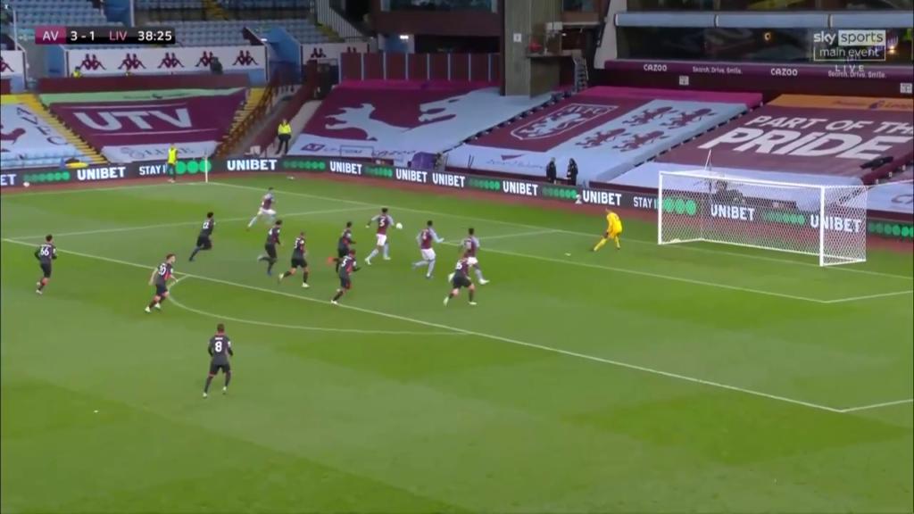 Hàng thủ Liverpool đều đứng trên các cầu thủ Aston Villa trong pha bẫy việt vj.