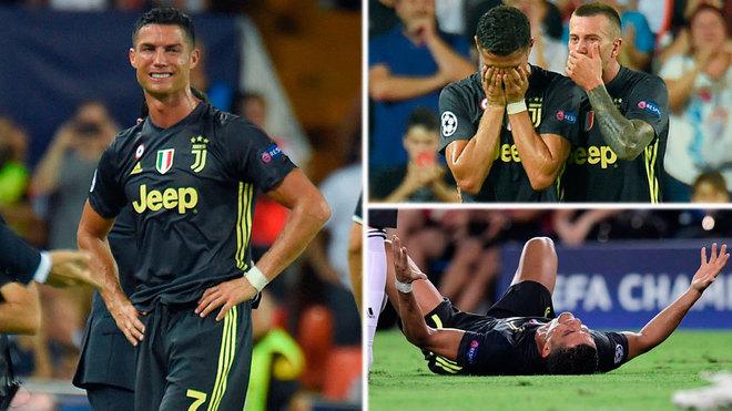 Ronaldo bật khóc sau khi lĩnh thẻ đỏ trong trận Valencia - Juventus năm 2018. Ảnh: Marca
