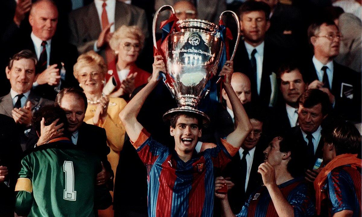 Guardiola menjadi andalan skuad Bara asuhan Johan Cruyff yang menjuarai Piala C1 tahun 1992. Foto: EFE