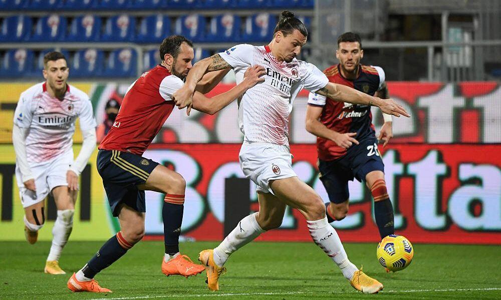 Ibrahimovic (thứ hai từ phải sang) lần thứ năm ghi cú đúp ở Serie A mùa này. Ảnh: Reuters