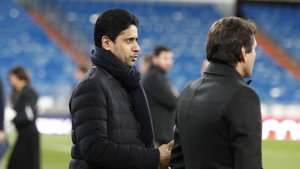 Chủ tịch PSG, Al-Khelaifi và Giám đốc thể thao Leonardo sẵn sàng chơi lớn trên thị trường chuyển nhượng. Ảnh: Marca.