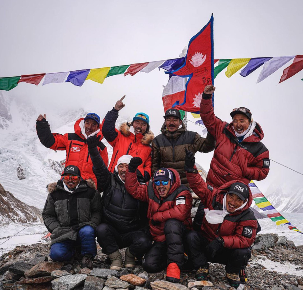 The climbers rejoice after successfully conquering K2 in winter.  Photo: NatGeo