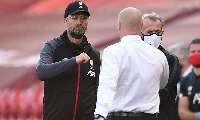 Klopp (kiri) menghormati upaya pelatih Sean Dyche bersama Burnley sejak 2012. Foto: Liverpoolfc