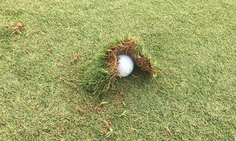 Ball stuck in the divot.