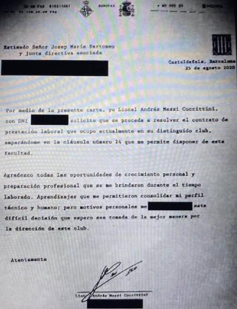 Bản fax Messi gửi Barca để đòi ra đi trong hè 2020. Ảnh: TyC Sports