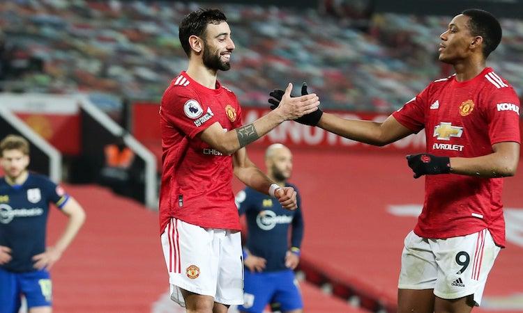 Bảy cầu thủ Man Utd ghi bàn trong trận thắng tưng bừng tại Old Trafford. Ảnh: NMC Pool.