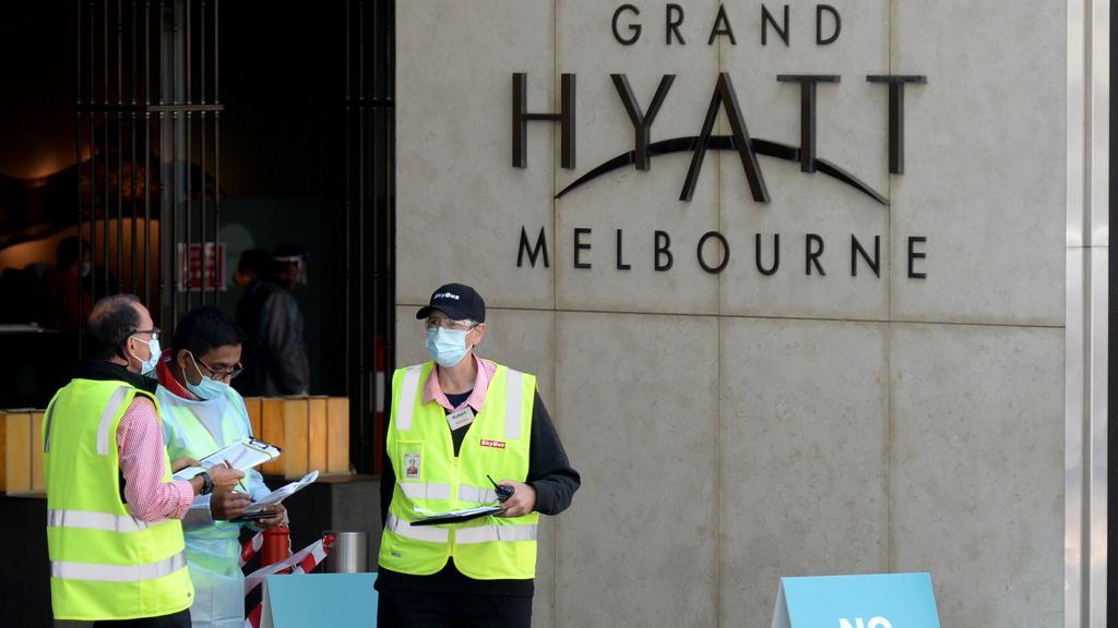 Khách sạn Grand Hyatt Melbourne là nơi phát hiện ca nhiễm nCoV đầu tiên ở bang Victoria sau bốn tuần không lây nhiễm cộng đồng. Ảnh: The Australian.