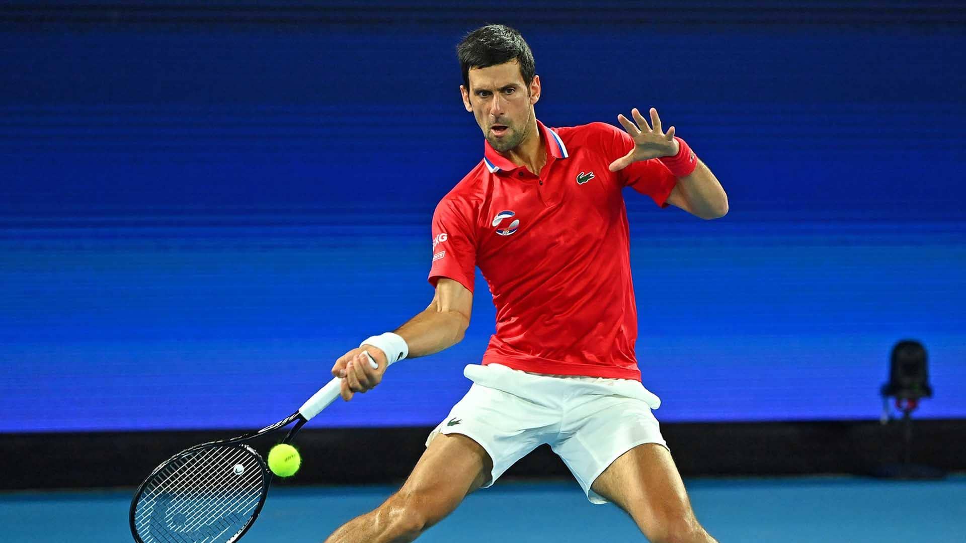 Djokovic tiếp tục thắng trận đơn nhưng các đồng đội của anh lại chơi dưới sức và bị Đức vượt qua tại bảng A. Ảnh: ATP.