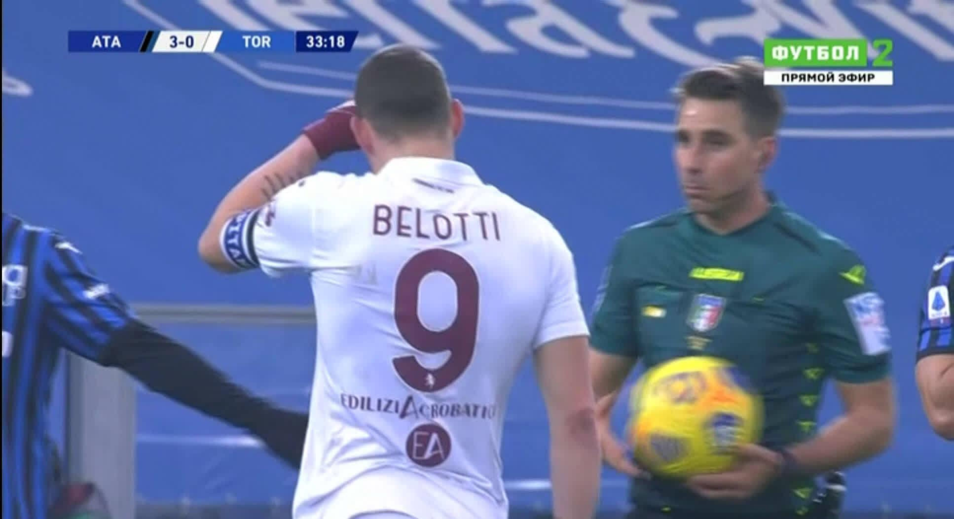 Belotti phân bua với trọng tài Fourneau và thuyết phục ông này rút lại chiếc thẻ phạt Romero.