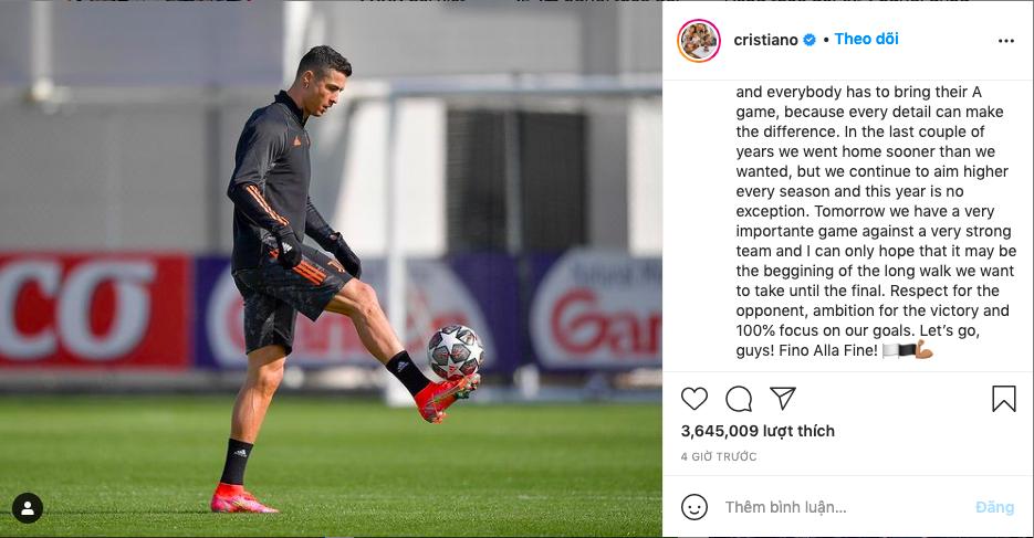 Bài đăng của Ronaldo nhận hơn 3,6 triệu lượt thích chỉ sau bốn tiếng. Ảnh chụp màn hình