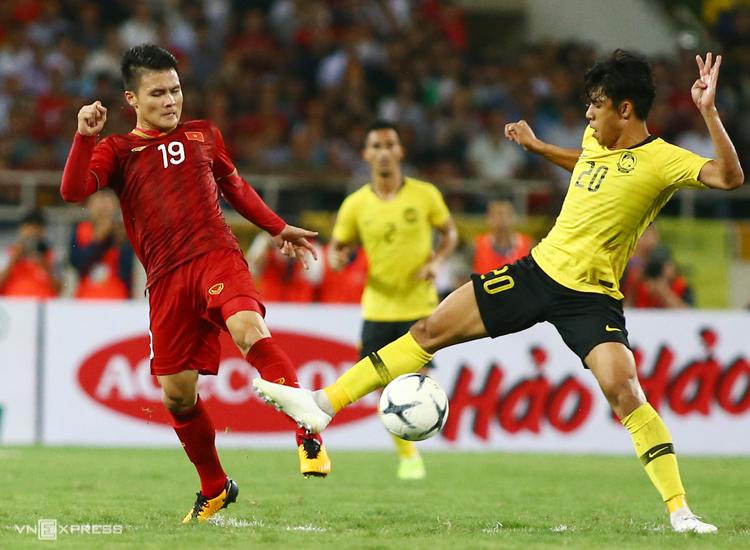 Việt Nam đánh bại Malaysia 1-0 trong trận lượt đi tại Mỹ Đình năm 2019. Ảnh: Lâm Thoả