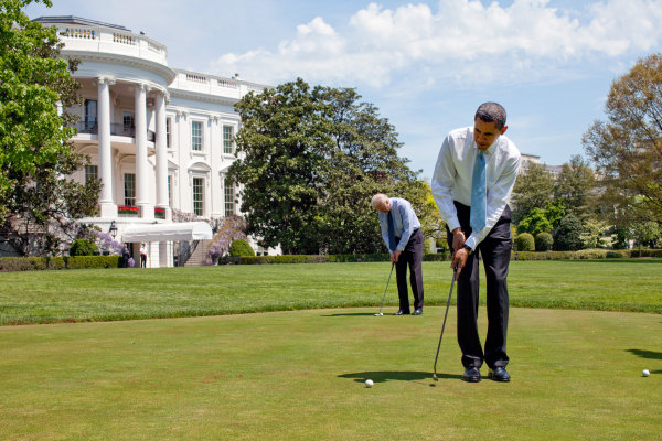 President Obama and Vice President Joe Biden trained the hole on the green of the White House in 2009. Photo: The White House.