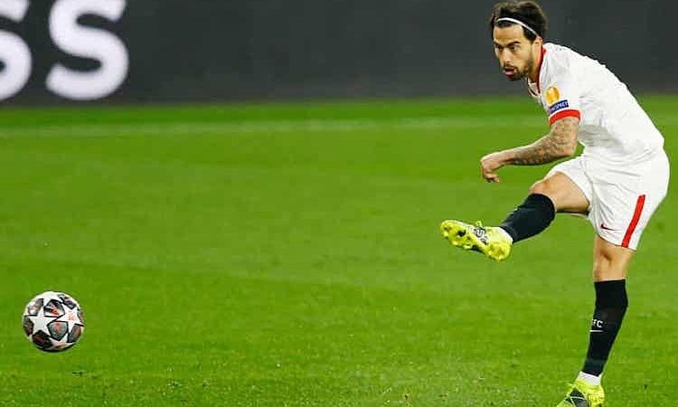 Gol awal Suso tidak berhasil mengantarkan Sevilla sukses.  Foto: Reuters.