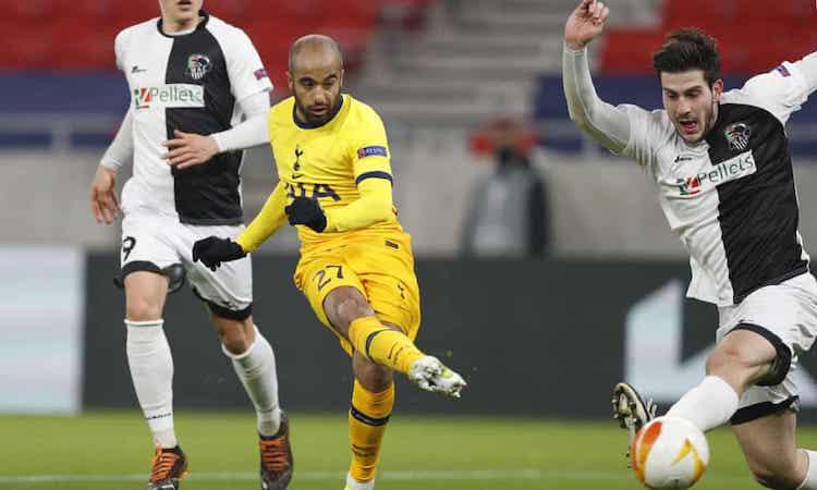 Lucas Moura giúp Tottenham dẫn 3-0 khi bước vào giờ nghỉ. Ảnh: AP.