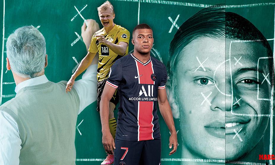 Mbappe dan Haaland sama-sama diharapkan Zidane menjadi dua superstar sepakbola baru.  Foto: Marca