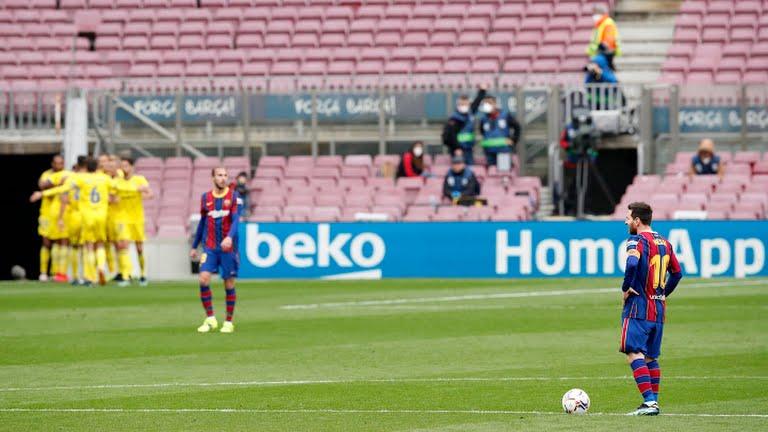 เมสซี่รู้สึกผิดหวังที่จุดเสิร์ฟเมื่อผู้เล่นกาดิซยังคงฉลองการตีเสมอในรอบสุดท้าย  ภาพ: Reuters
