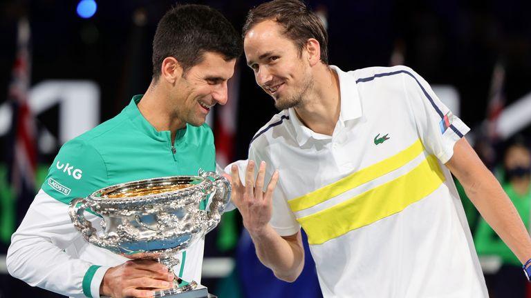 Medvedev memecahkan rekor 20 kemenangan beruntun ketika dia bertemu Djokovic di final Australia Terbuka pada 21 Februari.  Foto: ATP.