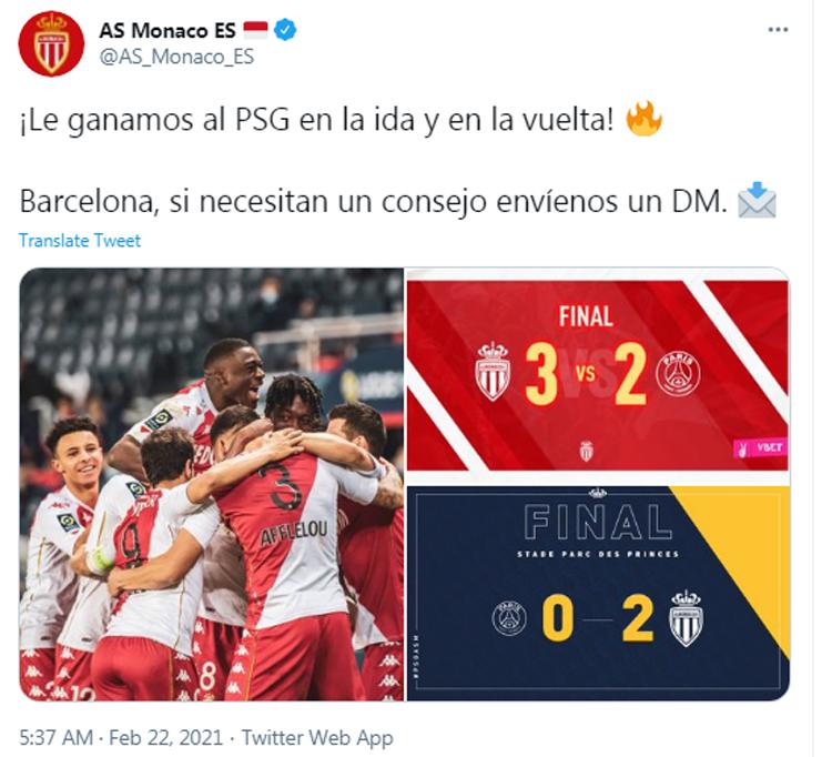 Monaco sẵn lòng mách nước cho Barca cách đánh bại PSG. Ảnh: Twitter.