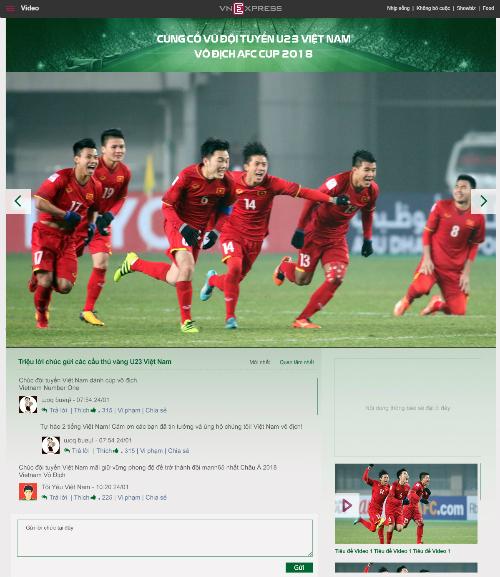 Độc giả có thể gửi triệu lời chúc cho U23 Việt Nam trên VnExpress.