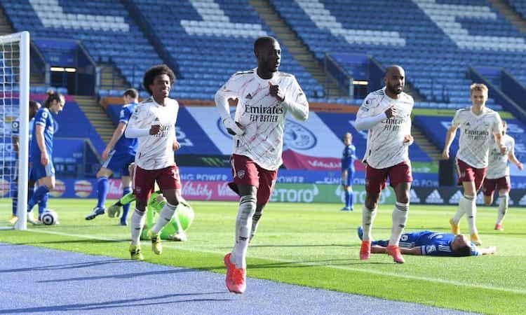 Pepe chia vui sau khi ghi bàn nâng tỷ số lên 3-1 cho Arsenal. Ảnh: Arsenal FC.