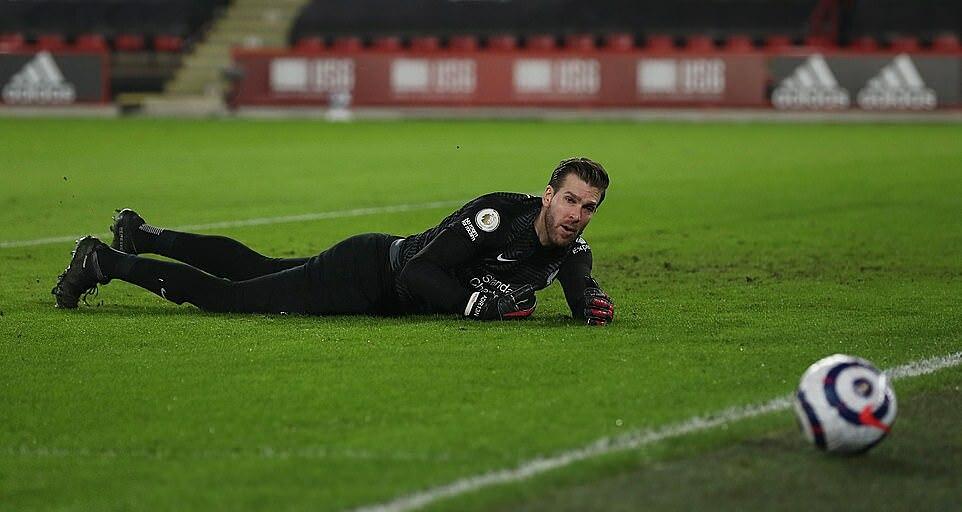 Adrian memulai Liverpool pada malam 28 Februari, menggantikan Alisson - yang baru saja menderita syok karena kehilangan ayahnya.  Foto: Reuters.