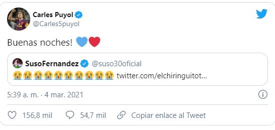 Puyol nhanh chóng chúc ngủ ngon đối với Suso trên mạng xã hội. Ảnh: Twitter.