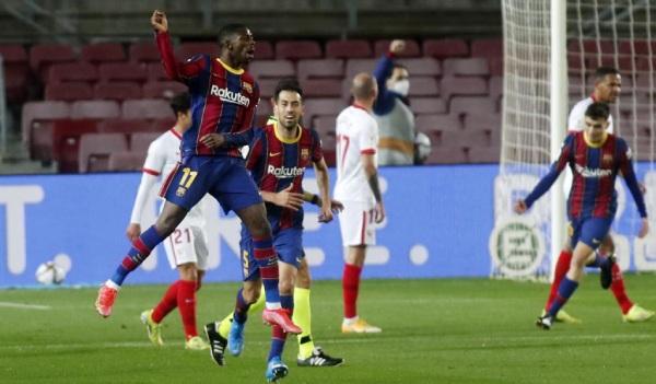Dembele giúp Barca khởi đầu thuận lợi. Ảnh: AP.
