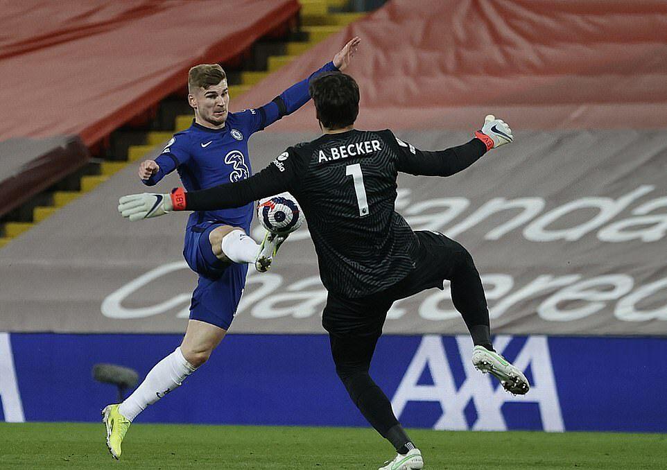 Mount vượt qua cả Alisson để sút tung lưới Liverpool, nhưng bàn thắng không được công nhận. Ảnh: EPA.