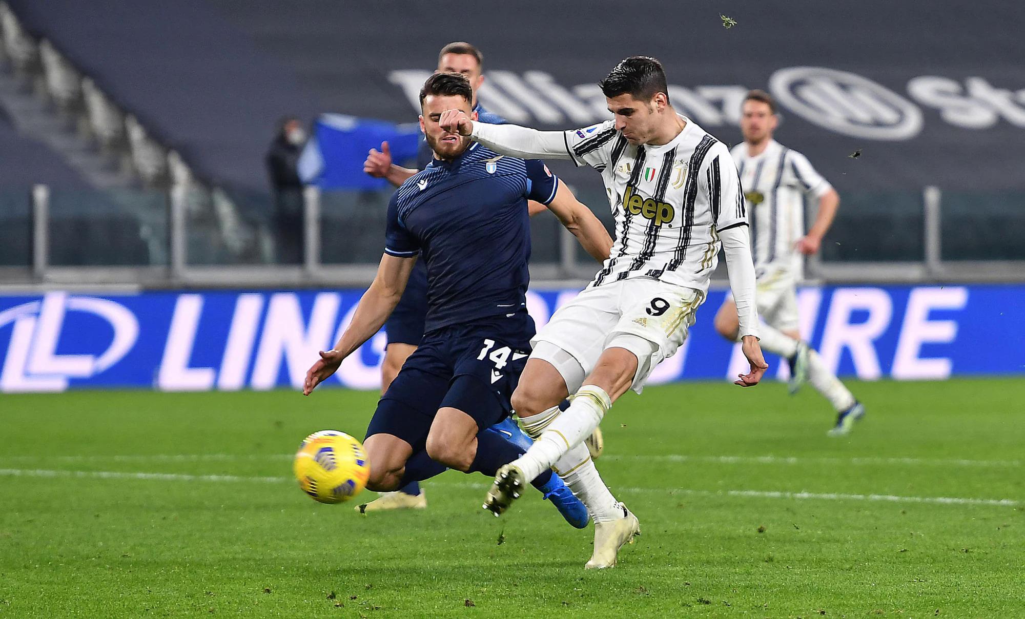 Morata chỉ ba lần dứt điểm trong 70 phút hiện diện trên sân, nhưng hai trong số đó đi đúng hướng cầu môn và mang lại hai bàn thắng quan trọng cho Juventus. Ảnh: ANSA