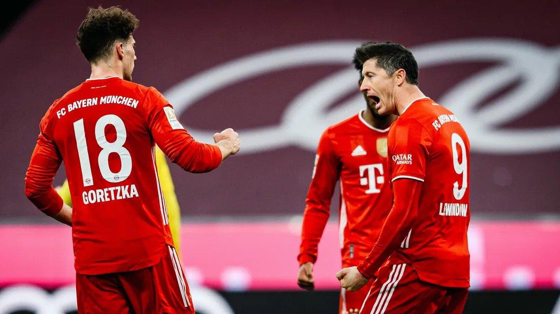 Lewandowski (phải) và Goretzka giúp Bayern thắng ngược. Ảnh: Bundesliga