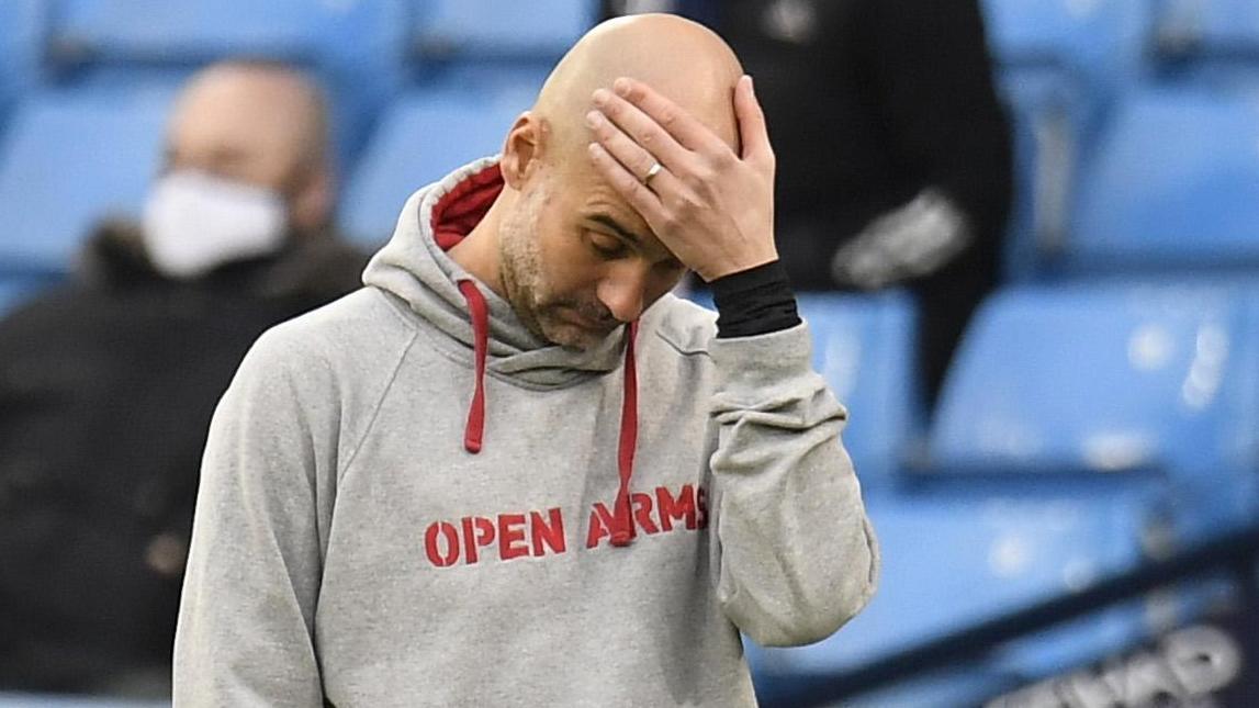 Guardiola ได้รับความพ่ายแพ้สามครั้งติดต่อกันกับ Solskjaer ที่เอทิฮัด  ภาพ: Reuters