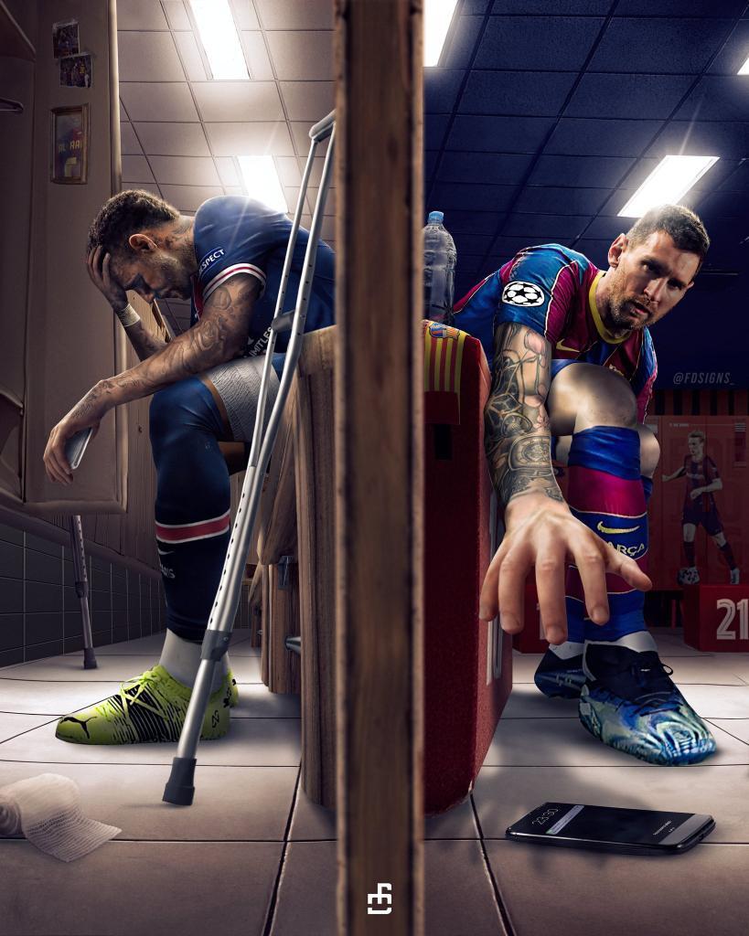 Foto ESPN tentang ketidakmampuan Neymar bermain melawan Messi dan tim lamanya Barca di babak kedelapan Liga Champions.