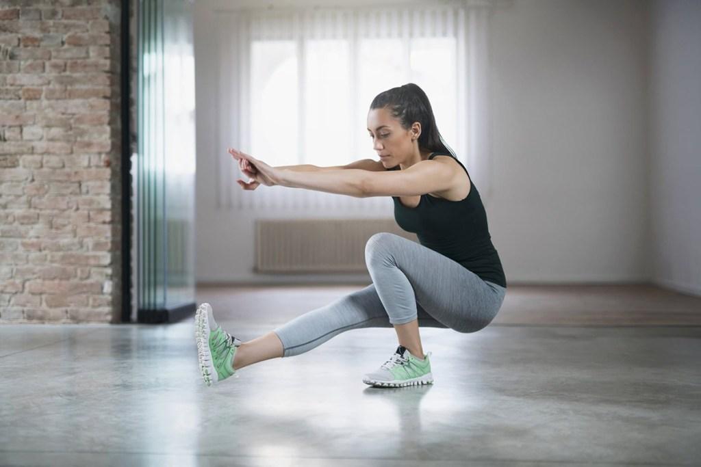 Side-leg Squat exercises for ITBS treatment.  Image: