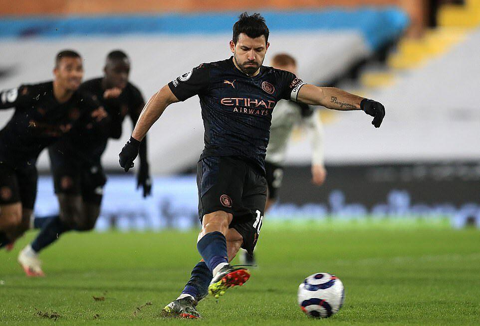 Aguero mencetak gol pertamanya di Liga Inggris musim ini.  Foto: PA.