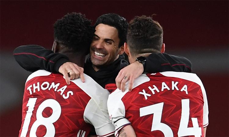 Arteta chứng tỏ ông không cần Aubameyang để giúp Arsenal hạ Tottenham. Ảnh: AP.