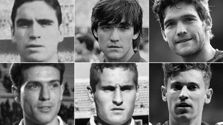 จากซ้ายขึ้นบน ได้แก่ Marquitos (เล่นให้ Murcia), Marcos Alonso Peña (Barça), Marcos Alonso Mendoza (Chelsea ในปัจจุบัน), Ramón Grosso (Atlético), Paco Llorente Pena (Atlético) และ Marcos Llorente (Atléticoในปัจจุบัน))  ภาพ: El Pais