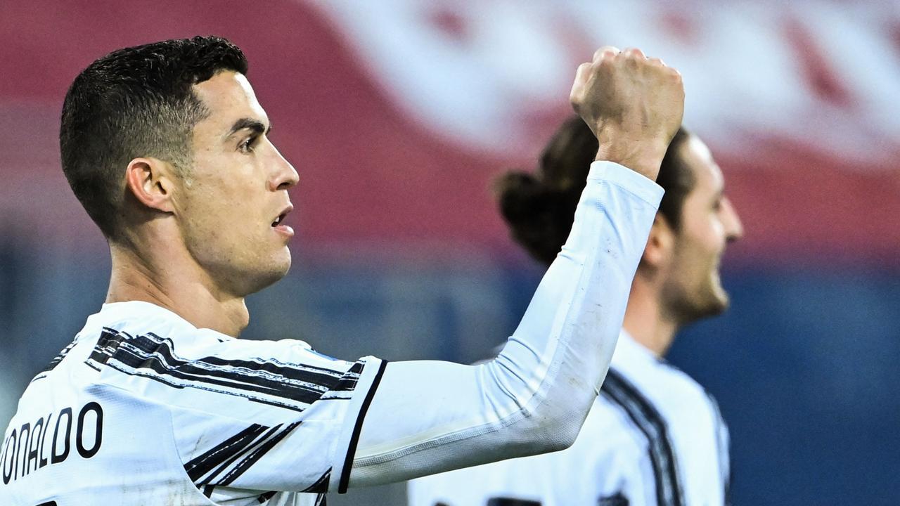 Ronaldo merayakan golnya melawan Cagliari di Serie A akhir pekan lalu.  Foto: AFP.
