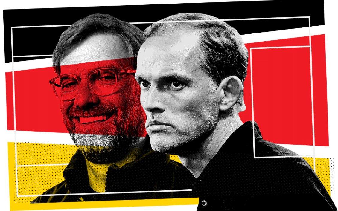 Klopp (trái) và Tuchel đều từng dẫn dắt Mainz và Dortmund. Ảnh: Telegraph
