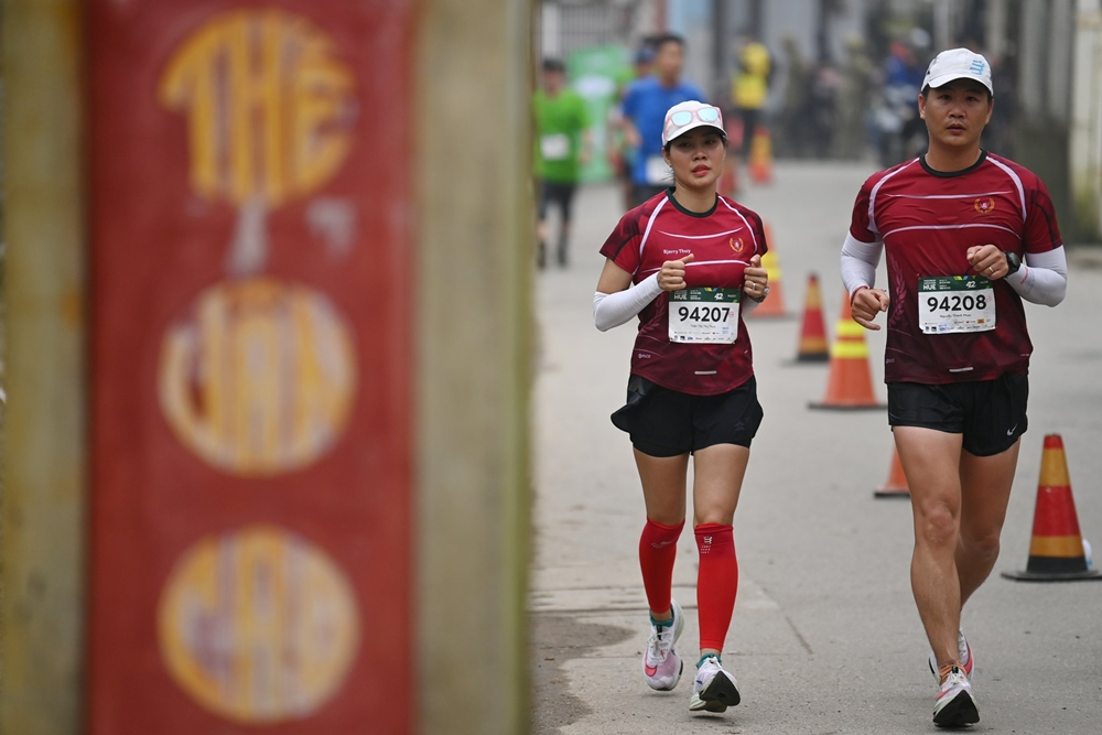Runner participates in VM Hue Competition 2020. Photo: Ngoc Thanh