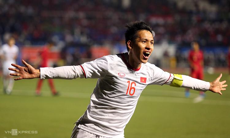 ฮังดุงฉลองประตูเพิ่มสกอร์เป็น 2-0 ยิงไกลในซีเกมส์ 2019 รอบสุดท้ายกับอินโดนีเซีย  ภาพ: Duc Dong