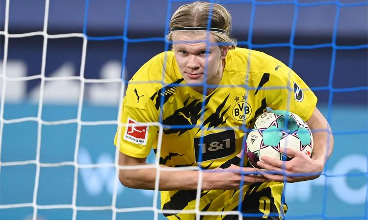 Haaland telah mencetak 33 gol di semua kompetisi untuk Dortmund musim ini.  Foto: Reuters.