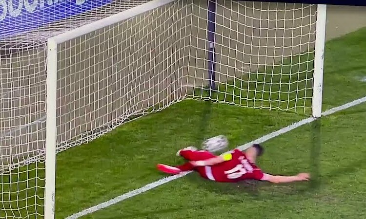 Băng ghi hình cho thấy Mitrovic cản phá khi bóng đã qua vạch vôi. Ảnh: BT Sport.