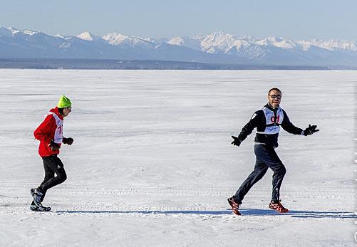 Baikal Ice Marathon runners.