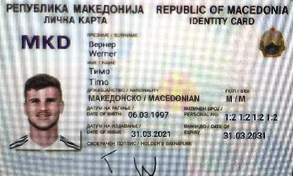 Ảnh chế căn cước công dân Macedonia của Timo Werner.