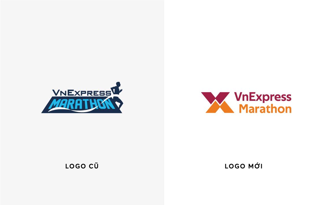Logo VnExpress Marathon cũ và mới.