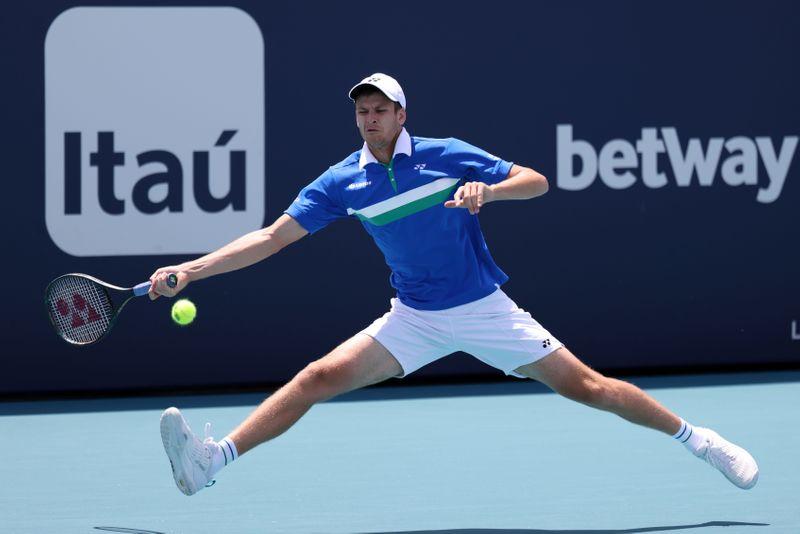 Hurkacz đánh bại hàng loạt ứng viên vô địch trên đường vào chung kết Miami Mở rộng. Ảnh: ATP.