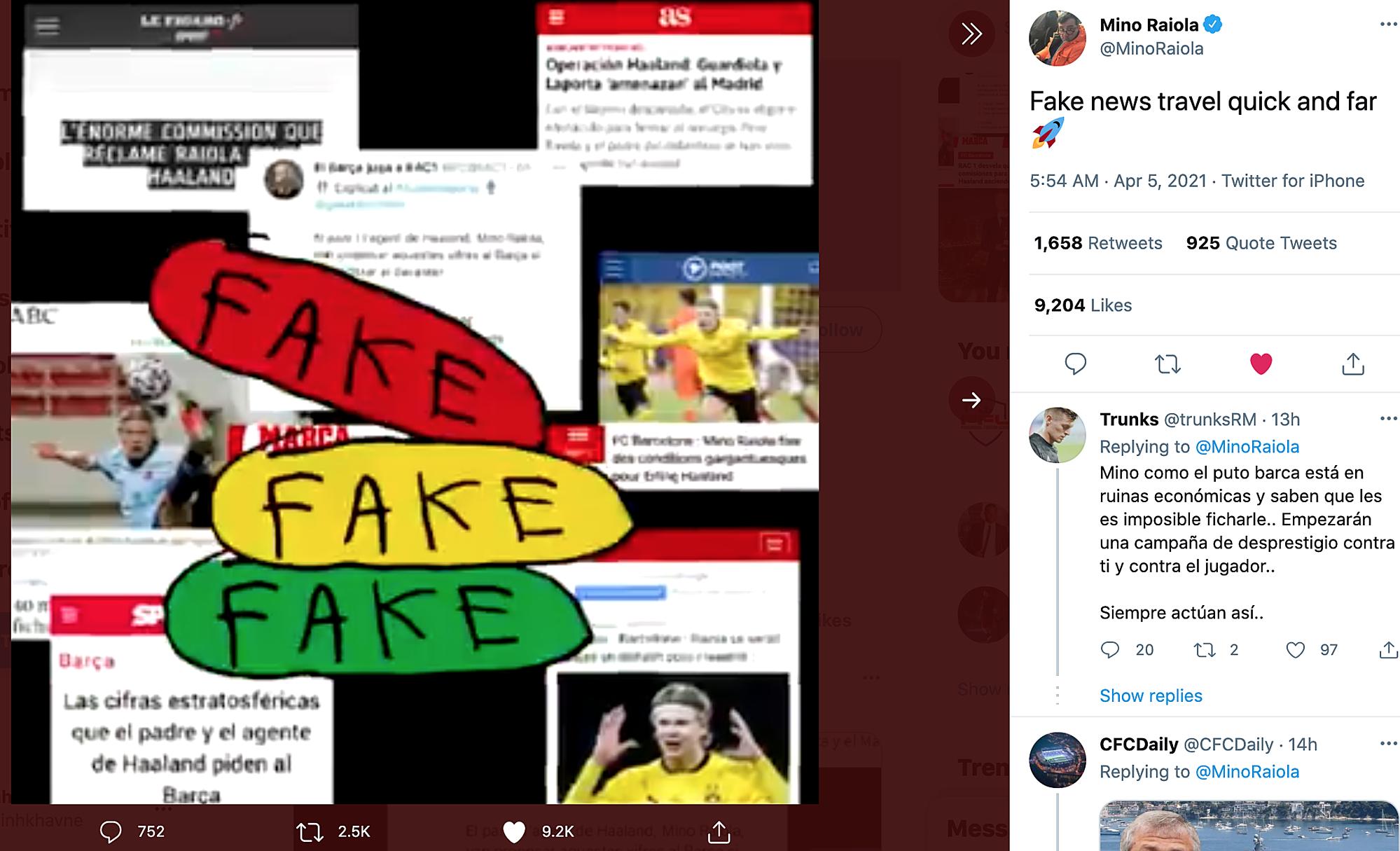 Dòng tweet của Raiola phủ nhận các tin đồn về Haaland gần đây.