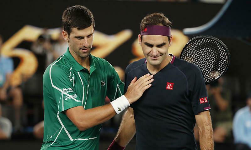 Djokovic hơn Federer về đối đầu, số tuần giữ vị trí số một thế giới, số Masters 1000 và chỉ kém hai Grand Slam. Ảnh: ATP.
