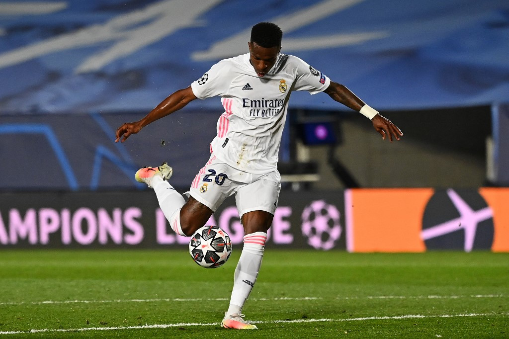 Cải thiện được khâu dứt điểm giúp Vinicius trở nên lợi hại hơn nhiều trên hàng công Real mùa này. Ảnh: EFE